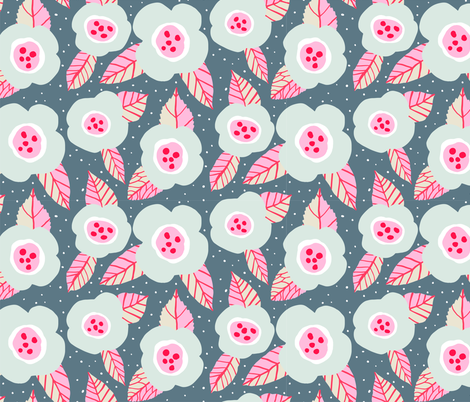 Grey flowers with pink fabric by onelittleprintshop on Spoonflower - custom fabric