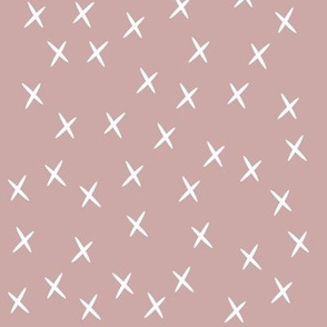 Crosses - white on dusty pink