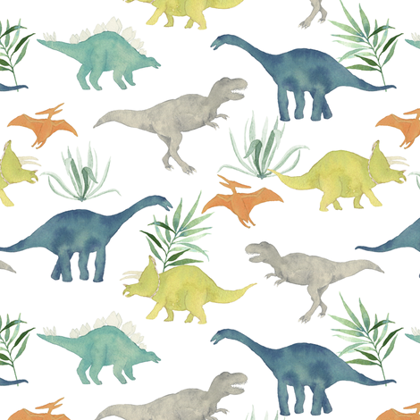 Custom Dinos with leaves fabric by mintpeony on Spoonflower - custom fabric