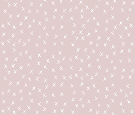 Crosses - white on light dusty pink  fabric by sunny_afternoon on Spoonflower - custom fabric