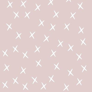 Crosses - white on light dusty pink