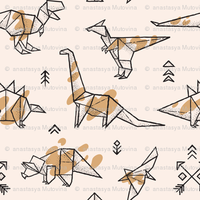 Origami dinosaurs with spots