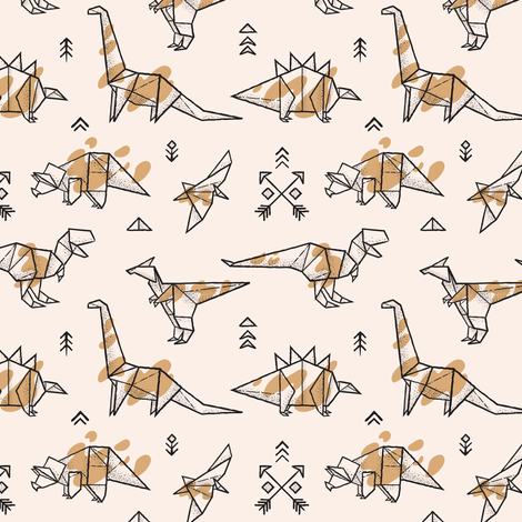 Origami dinosaurs with spots fabric by penguinhouse on Spoonflower - custom fabric