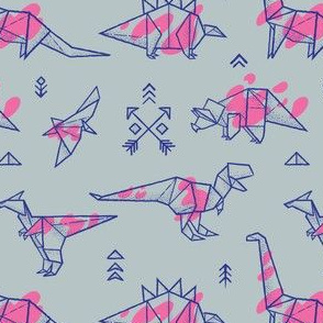 Origami dinosaurs with pink spots