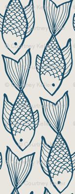 Blue fish on ivory
