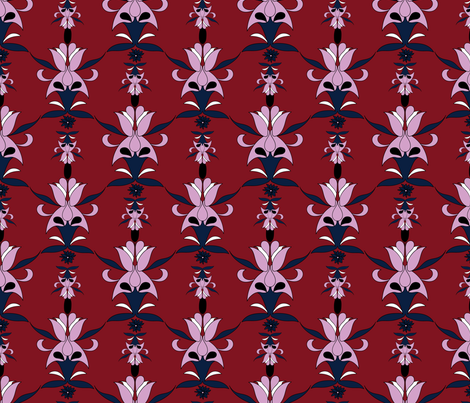 navy orchid wallpaper fabric by margiecampbellsamuels on Spoonflower - custom fabric