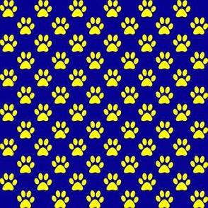 Half Inch Yellow Paw Prints on Dark Blue
