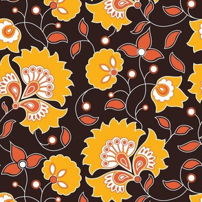 Indian style floral yellow and red pattern