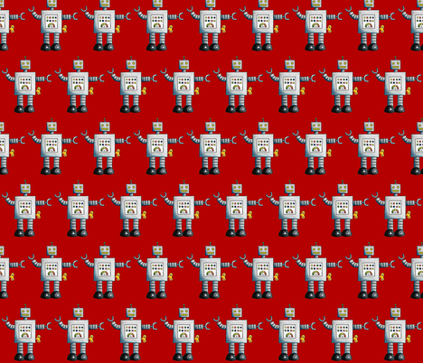 Robots (Red Background) fabric by interrobangart on Spoonflower - custom fabric