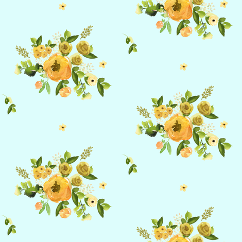 "4"" Sunrise Florals - Light Blue fabric by shopcabin on Spoonflower - custom fabric"