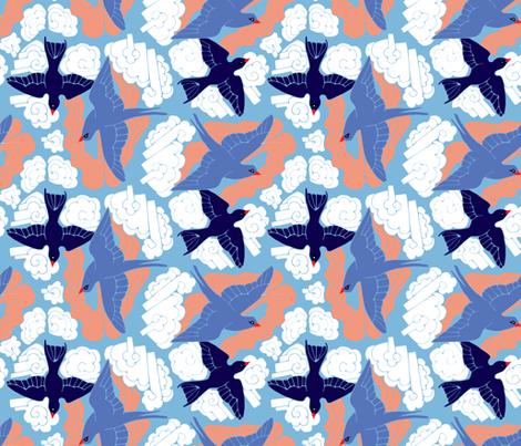 sparrows in sunset fabric by potyautas on Spoonflower - custom fabric