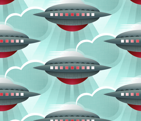 Art Deco Spaceship Tin Toy fabric by spellstone on Spoonflower - custom fabric