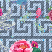 blue floral //  pink flowers // peony //  greek key