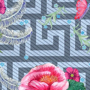 peony watercolor, greek key blue floral //  pink flowers // peony //  greek key