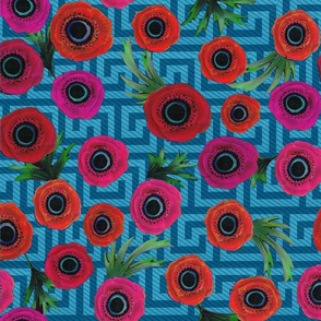 Anemone Floral with Greek Key