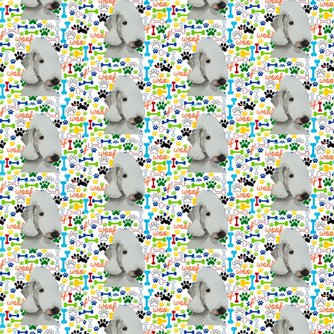 Bedlington Woof Bone Paws fabric by altrincham on Spoonflower - custom fabric