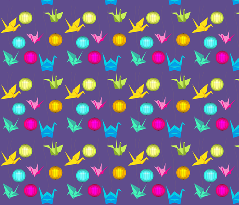 origami ultra violet fabric by un_temps_de_coton on Spoonflower - custom fabric