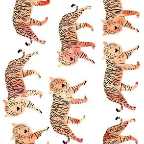 tigers // watercolor peach tigers animals watercolors painted animals railroad