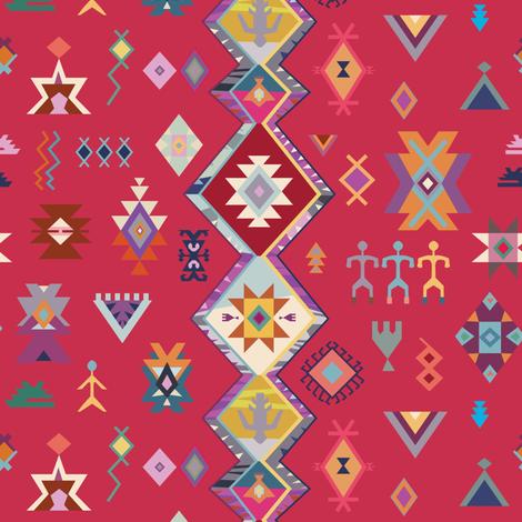 KILIM NO.1 IN DESERT MAGENTA fabric by elliottdesignfactory on Spoonflower - custom fabric