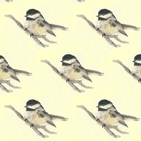 Warbler on a Yellow Background fabric by betz on Spoonflower - custom fabric