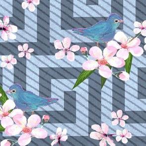 Cherry blossom watercolor // Greek key Cherry blossom