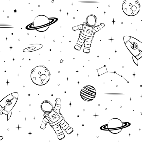 monochrome - space print fabric by littlearrowdesign on Spoonflower - custom fabric