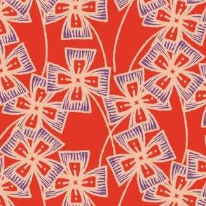 Boxy Clarkia Amoena - Vintage Matchbox - Violet on Red