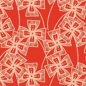 Boxy Clarkia Amoena - Vintage Matchbox - Peach on Red