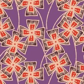 Boxy Clarkia Amoena - Vintage Matchbox - Red and Dark on Violet
