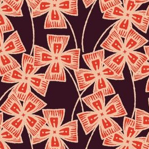 Boxy Clarkia Amoena - Vintage Matchbox - Red on Dark B