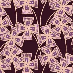 Boxy Clarkia Amoena - Vintage Matchbox - Violet on Dark B