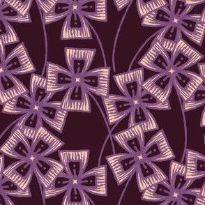 Boxy Clarkia Amoena - Vintage Matchbox - Violet on Dark A