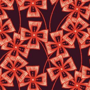 Boxy Clarkia Amoena - Vintage Matchbox - Red on Dark A