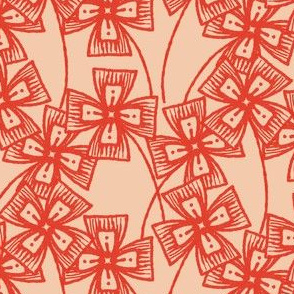 Boxy Clarkia Amoena - Vintage Matchbox - Red on Peach