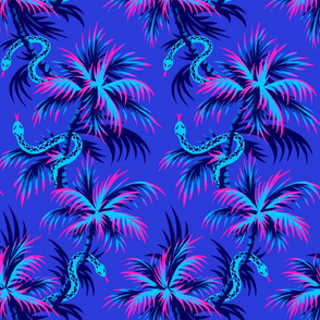 Snake Palms - Blue / Pink - AndreaAlice