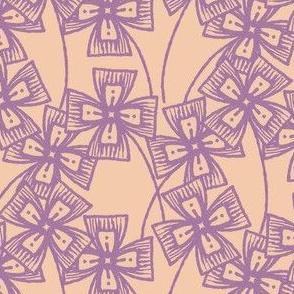 Boxy Clarkia Amoena - Vintage Matchbox - Violet on Peach