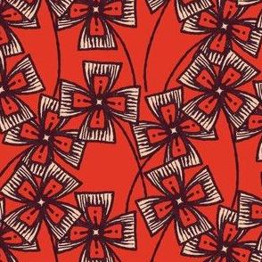 Boxy Clarkia Amoena - Vintage Matchbox - Dark on Red