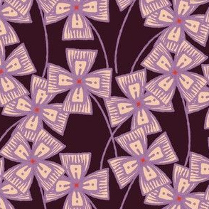 Boxy Clarkia Amoena - Vintage Matchbox - Violet on Dark C