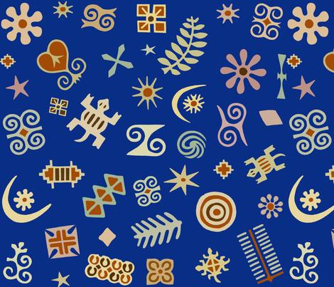 African Folk Art Symbols Fabric Vagabondfolkart Spoonflower