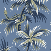 Snake Palms - Light Blue/Gold - Large Scale - AndreaAlice