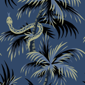 Snake Palms - Dark Blue/Gold - Large Scale - AndreaAlice