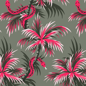 Snake Palms - Light Vintage Coral - Large Scale - AndreaAlice