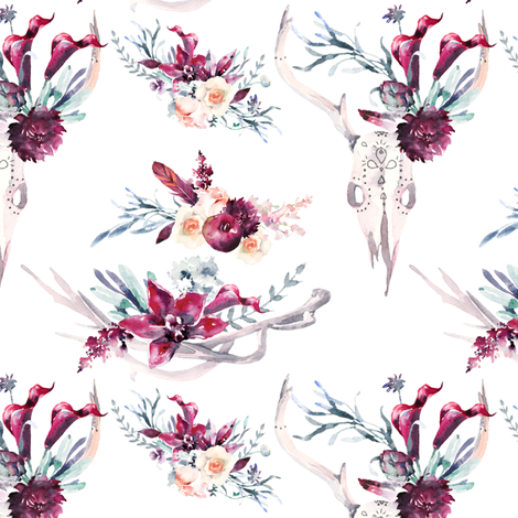 "Boho Floral and Antlers 6"" fabric by greenmountainfabric on Spoonflower - custom fabric"
