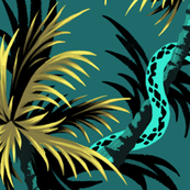 Snake Palms - Dark Teal/Mustard - Large Scale - AndreaAlice