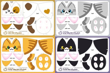 Cut & Sew Blob Kitty Plush Compilation fabric by sewdesune on Spoonflower - custom fabric