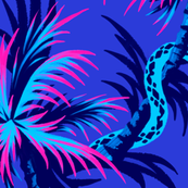 Snake Palms - Blue / Pink - Large Scale - AndreaAlice