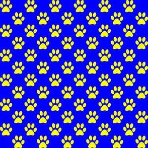 Half Inch Yellow Paw Prints on Blue