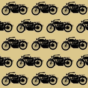 Antique Motorcycles on Tan // Small