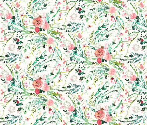 Fable Spring Floral (MED) (white) fabric by nouveau_bohemian on Spoonflower - custom fabric