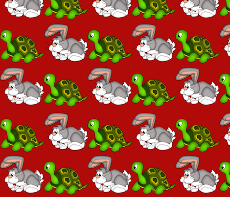 tortoise and hare red fabric by safaristudioadventures on Spoonflower - custom fabric